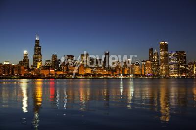 Carta da parati Chicago Skyline al crepuscolo