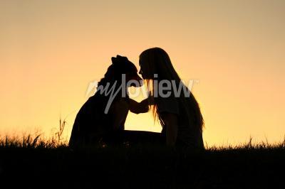 Quadro Cane da pastore tedesco, si staglia contro il cielo sunsetting