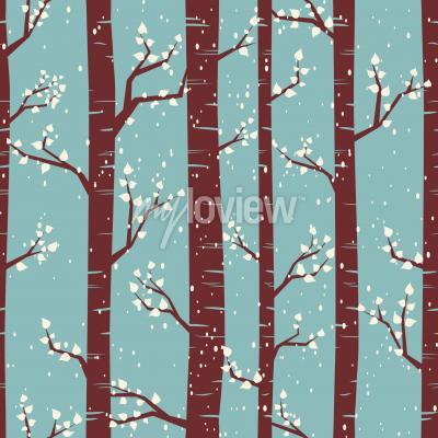 Carta da parati piastrelle Seamless pattern con betulle sotto la nevicata