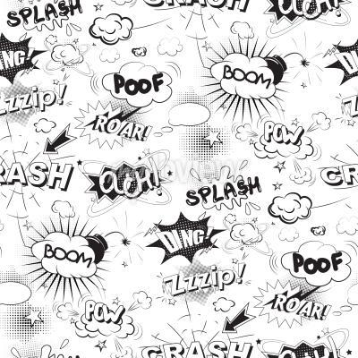 Carta da parati Comic discorso nero bolle in seamless stile pop art
