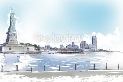 Quadro Line art illustrazione della Statua della Libertà e centro di New York City in una luminosa giornata di sole blu. Viaggi e turismo concetto