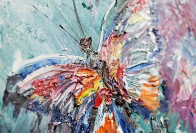 Quadro frammento del primo piano della pittura ad olio farfalla