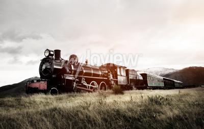 Carta da parati Treno a vapore in un concetto di trasporto in aperta campagna