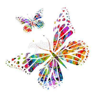 Carta da parati Silhouette farfalla sulle macchie di vernice