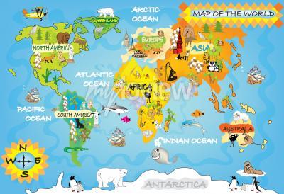 Carta da parati Bambini mappa del mondo