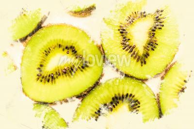 Quadro arte cibo creativo su fette di kiwi