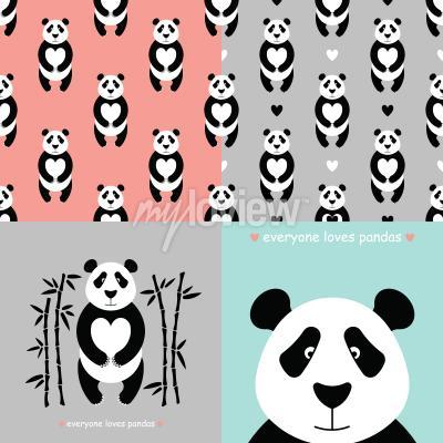 Carta da parati set orso panda
