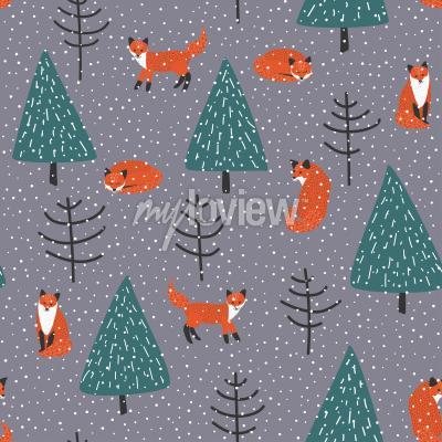 Quadro Le volpi in inverno foresta vector seamless