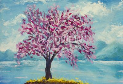 Quadro Blooming sakura sulla pittura ad olio acqua