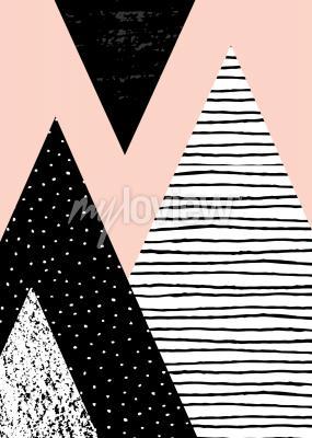 Composizione geometrica astratta in bianco nero e rosa pastello