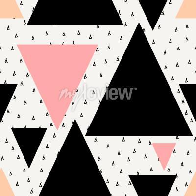 Carta da parati Reticolo di ripetizione geometrica senza soluzione di continuità astratta in crema nera rosa e arancio pastello