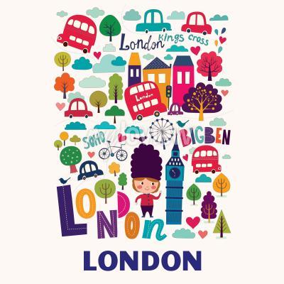 Carta da parati Modello con simboli di Londra