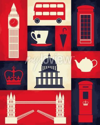 Poster Retro manifesto di stile con simboli di Londra e punti di riferimento