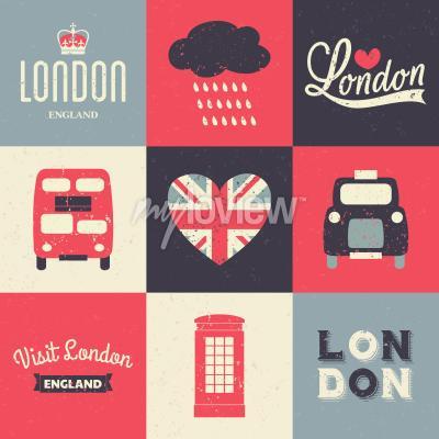Poster Un insieme di biglietti d'auguri di stile vintage con i simboli di Londra