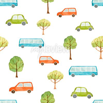 Carta da parati Acquarello senza soluzione di continuità modello di autobus e alberi