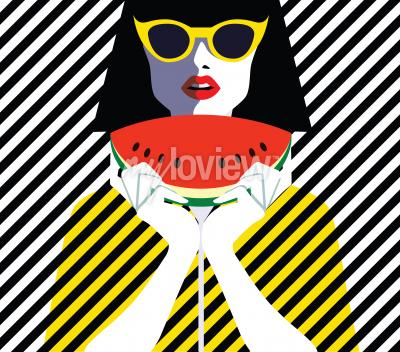 Quadro Bella giovane donna con occhiali da sole e anguria, stile retrò