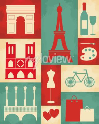 Carta da parati Retro manifesto di stile con simboli di Parigi e punti di riferimento