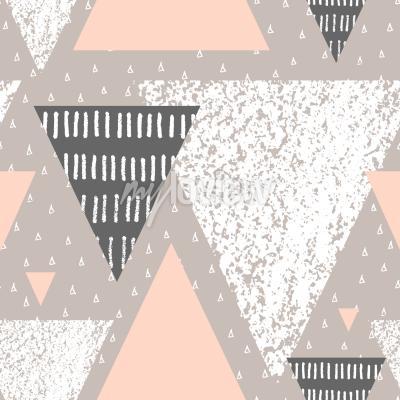 Carta da parati Reticolo senza soluzione di continuità geometrica astratta in bianco grigio e rosa pastello