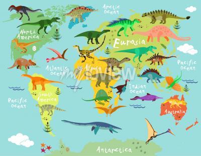 Carta da parati Dinosauro mappa del mondo per bambini e bambini
