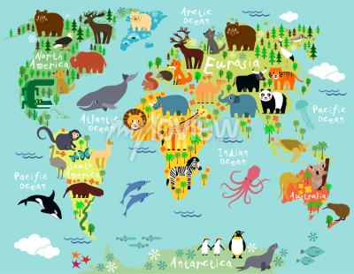 Carta da parati Mappa degli animali del mondo per bambini e bambini