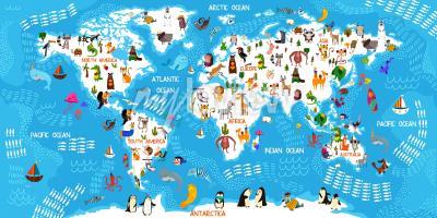 Carta da parati Cartoon mappa del mondo animale