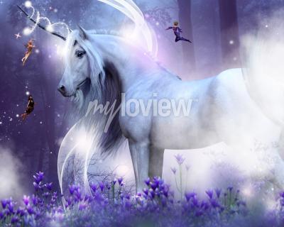Carta da parati Un maestoso unicorno con tre piccole fate che inviano scintille magiche