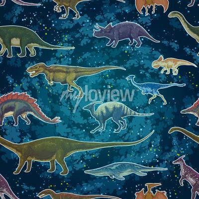 Carta da parati Tyrannosaurus Rex Pterodactylus del Diplodocus ... nel modello senza cuciture, illustrazione disegnata a mano di vettore