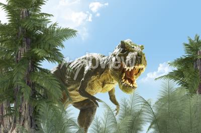 Carta da parati il dinosauro nella giungla fondo 3D rende