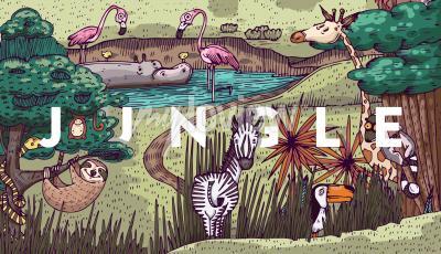 Carta da parati Vita selvaggia nella giungla con diversi animali