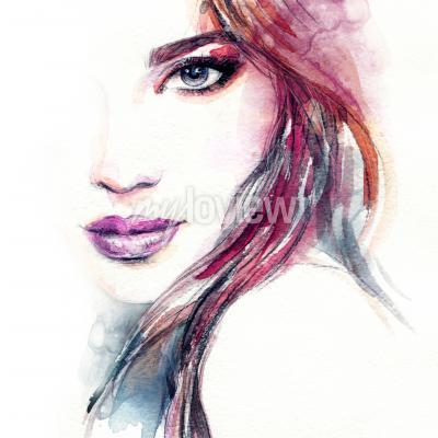Poster Pittura astratta dell'acquerello del fronte della donna