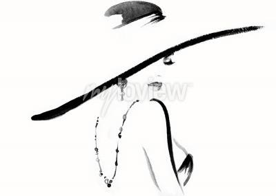 Quadro Ritratto di donna con cappello moda illustrazione