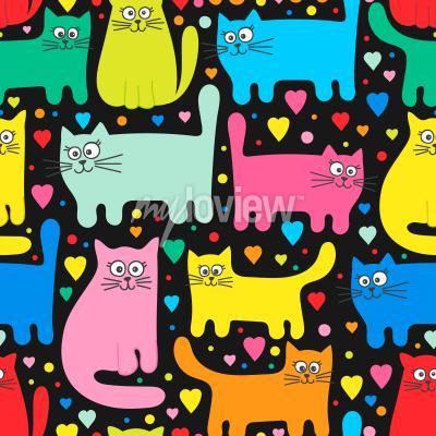 Carta da parati Funny kittens and hearts