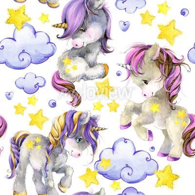 Carta da parati Cute unicorn watercolor seamless pattern