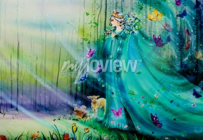 Carta da parati Scenic view of fantasy world with fairies and ethereal animals