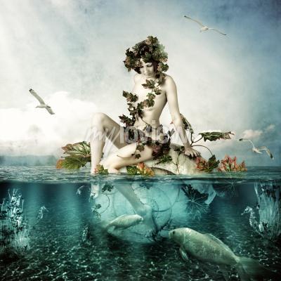 Quadro Mermaid underwater Beautiful woman seating on a shell in sea or ocean