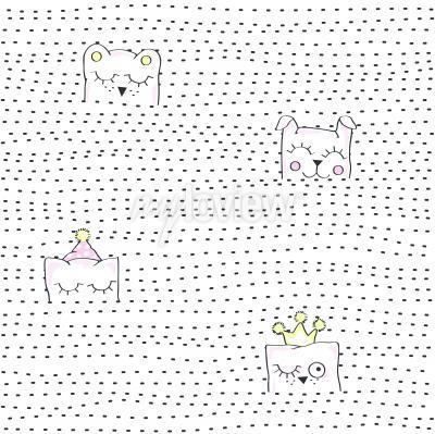 Carta da parati Vector illustration of seamless baby pattern