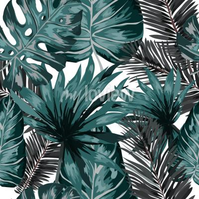 Carta da parati Watercolor seamless pattern with tropical leaves palms monstera passion fruit