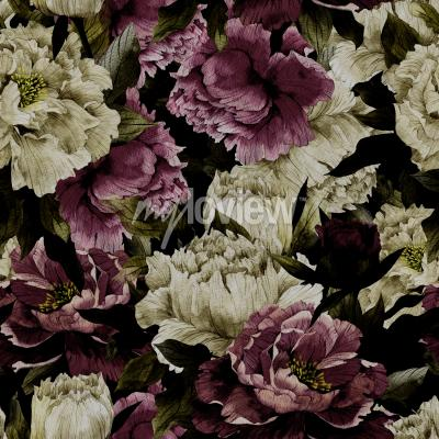 Carta da parati Seamless floral pattern with roses on dark background watercolor