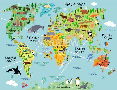 Adesivo Cartoon world map with landscape and animal