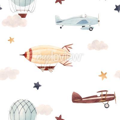 Adesivo Plane and cloud seamless pattern