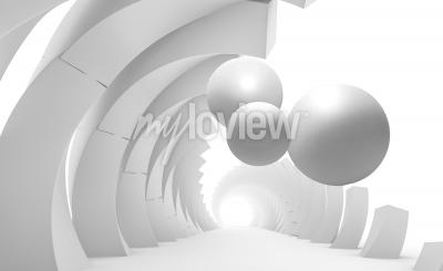 Carta da parati 3d wall tunnel with flying balls 3d rendering