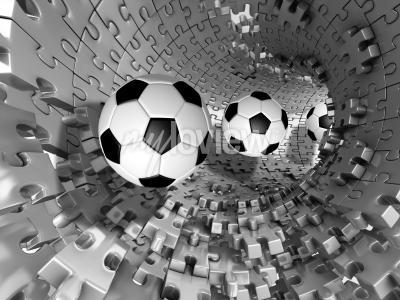 Carta da parati 3d footballs in the tunnel