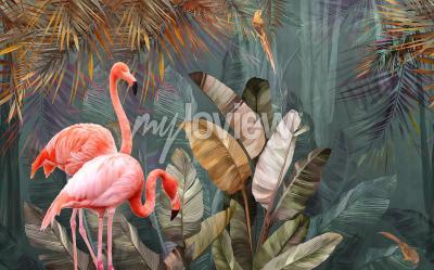 Carta da parati Flamingo background design with tropical palm and banana leaves