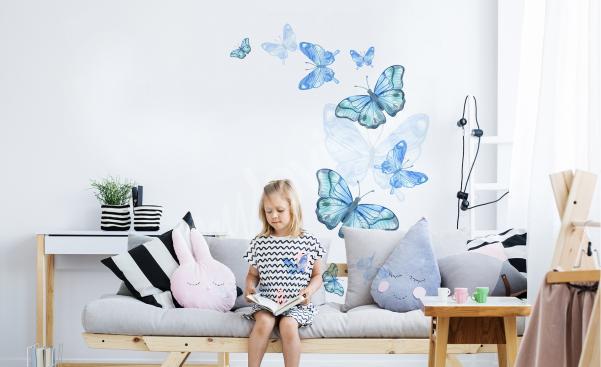 Adesivo blu farfalle