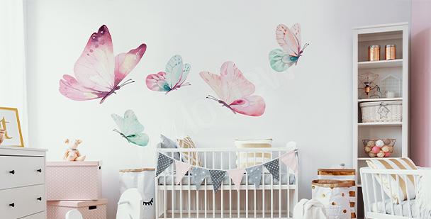 Adesivo farfalle colori pastello