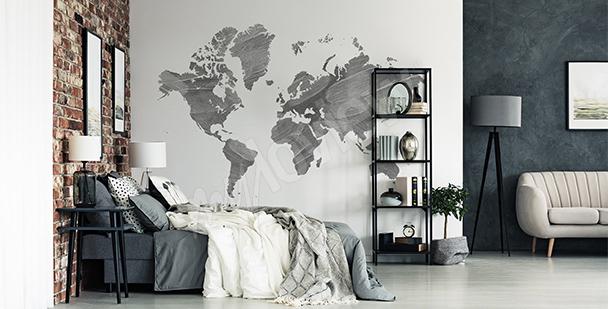 Adesivo mappa grigia del mondo