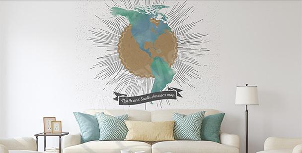 Adesivo mappa rétro delle Americhe