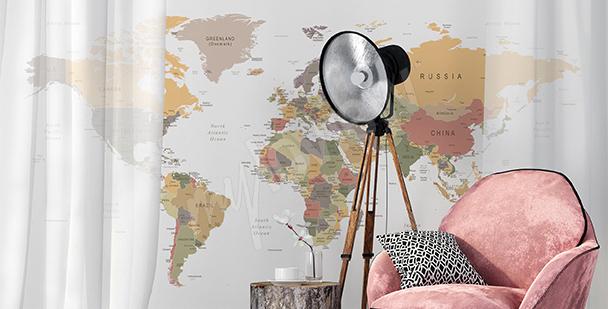 Adesivo mappa rétro per soggiorno