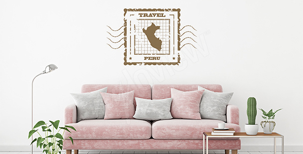 Adesivo mappa rétro Perù