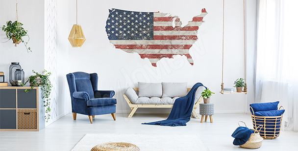 Adesivo mappa rétro USA